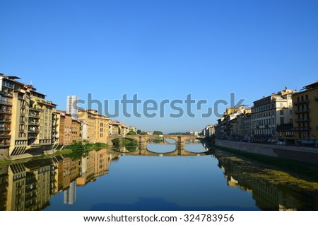 picturesque river in the city