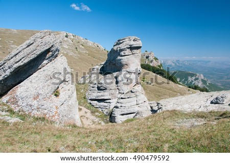 Picturesque rocky plateau on top of Demerdgy mountain, Crimea, Russia