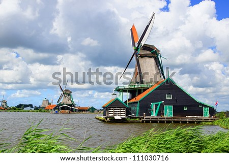 Picturesque rural landscape with windmills. Zaandijk, Netherlands - stock photo