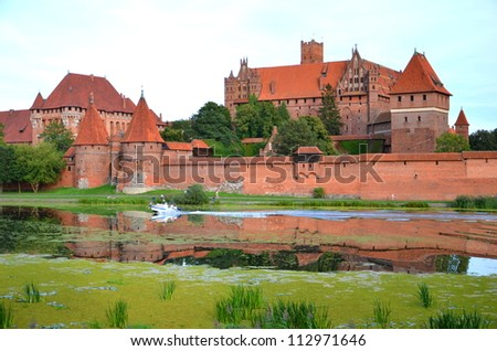 Picturesque scene of Malbork castle in Pomerania region, Poland