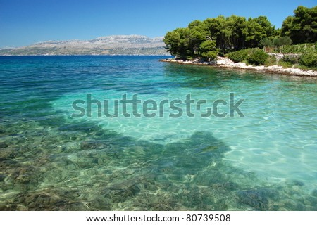 picturesque scenic view of sandy adriatic beach on brac island, croatia
