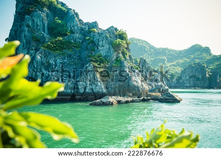 Picturesque sea landscape with limestone mountains. Ha Long Bay,  Vietnam - stock photo