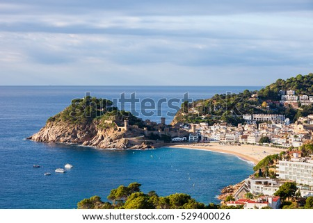 Picturesque town of Tossa de Mar at Costa Brava in Catalonia, Spain, coastline of Mediterranean Sea (Balearic Sea), Girona province.