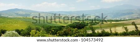 Picturesque Tuscany landscape (panorama) - stock photo