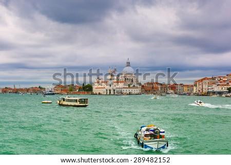 Picturesque View from the sea to Dogana di Mare and Basilica di Santa Maria della Salute, Venice, Italia - stock photo