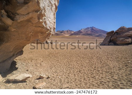 Picturesque view of tranquil bolivian desert near Salar de Uyuni in south american Andes - stock photo