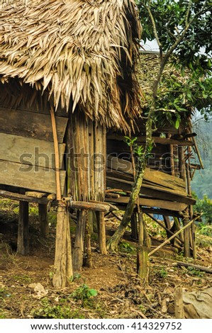 Picturesque view of wooden shacks standing on a hill