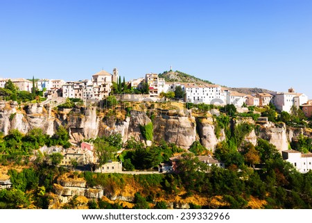 Picturesque view with residence houses in Cuenca - stock photo