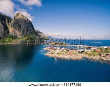 Picturesque village Hamnoya on Lofoten islands in Norway - stock photo