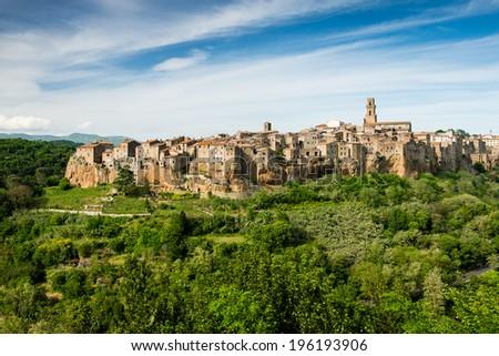Picturesque village of Pitigliano in south Tuscany - stock photo