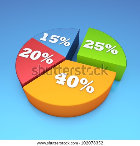 Pie bar chart with blue background - stock photo