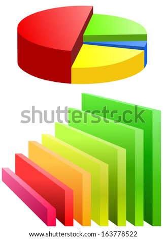 Pie chart and bar graph - stock photo