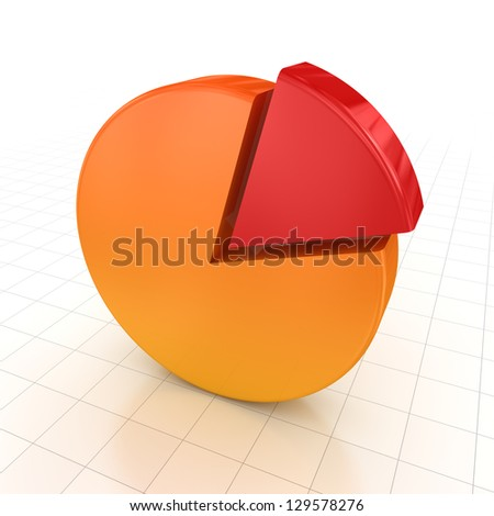 Pie chart , computer generated image. 3d render. - stock photo