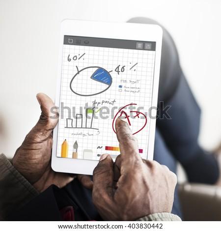 Pie Chart Graph Analysing Data Concept - stock photo