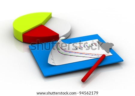 Pie Chart Icon with Clipboard - stock photo