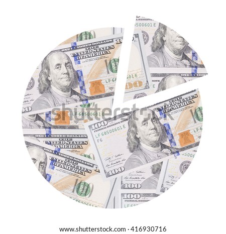 Pie chart  made of dollar bills as concept for market share. - stock photo