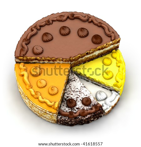 Pie chart of the different piece of pie - stock photo