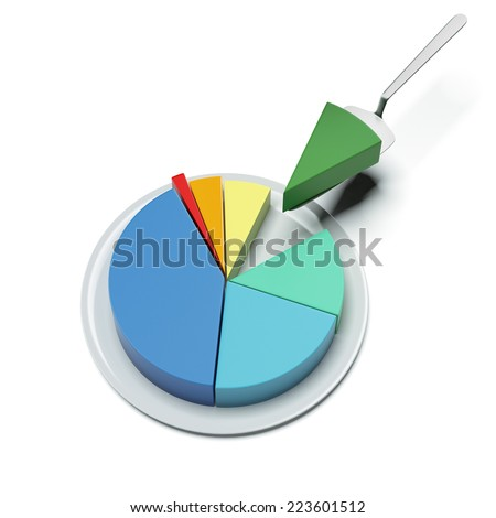 pie chart on a plate - stock photo