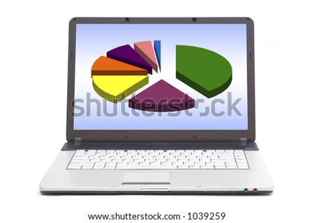 pie chart on the screen of notebook - stock photo