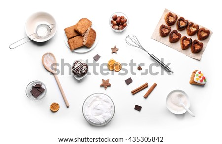 Pie cooking ingredients. Flat lay - stock photo
