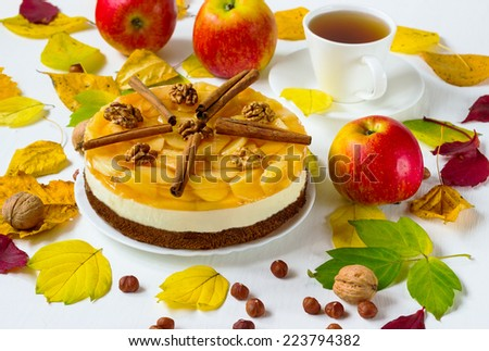 pie jelly with apples and cinnamon - stock photo