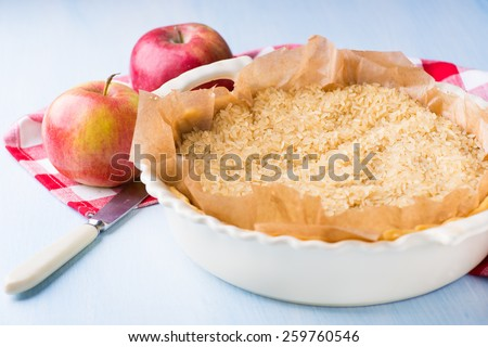 Pie or tart crust is ready for blind baking, selective focus - stock photo