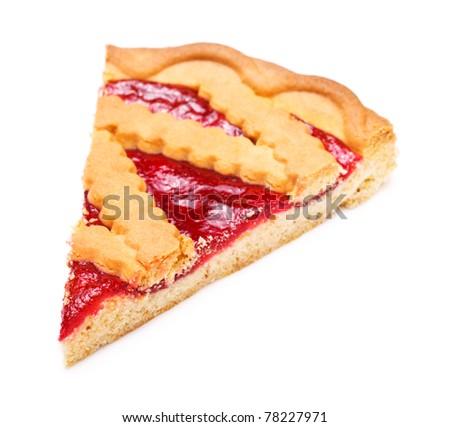pie slice with cherry jam isolated on white - stock photo