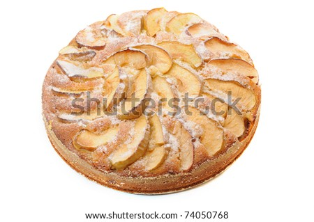 Pie with apples is isolated on a white background - stock photo