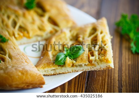 Pie with cabbage - stock photo