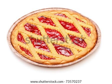 pie with cherry jam isolated on white - stock photo