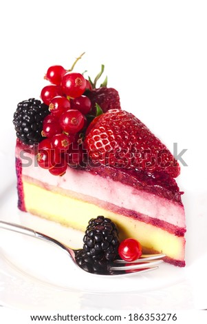 Piece cake with fresh berry on white isolated background  - stock photo
