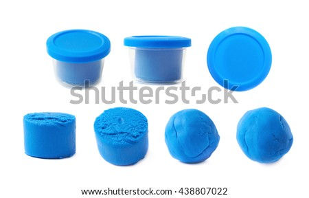 Piece of a blue modelling clay isolated over the white background, set of seven different foreshortenings - stock photo
