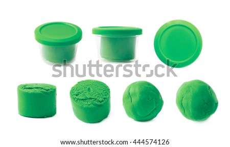 Piece of a green modelling clay isolated over the white background, set of seven different foreshortenings - stock photo