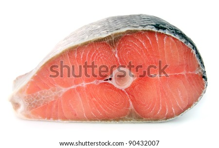 Piece of a salmon on a white background - stock photo