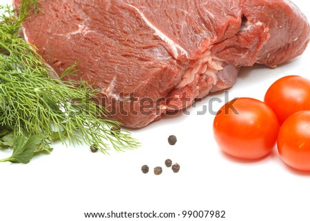 Piece of beef and vegetables isolated on white background - stock photo