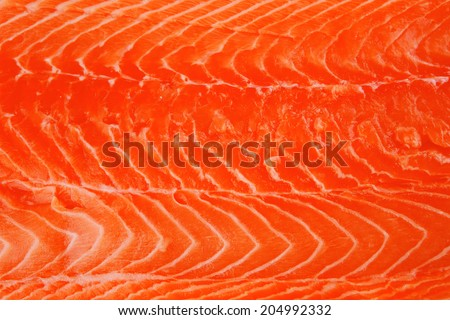 piece of big salmon fillet over white - stock photo
