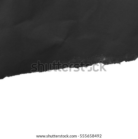 Piece of black torn paper, space for copy