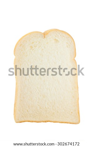 Piece of bread isolated on white background