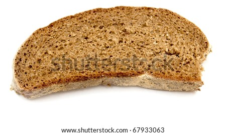 piece of bread on white background