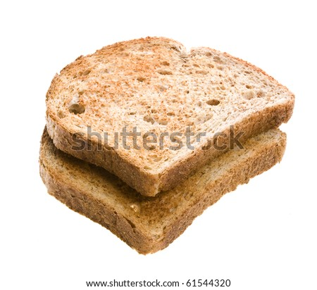 Piece of bread toast isolated on white - stock photo