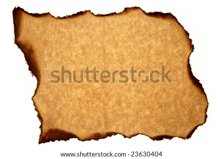 Piece of brown paper on white