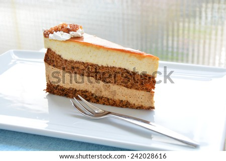 Piece of caramell cake - stock photo