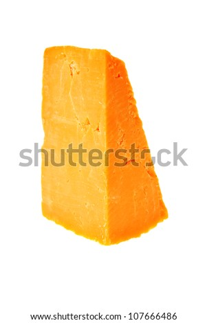 piece of cheddar cheese isolated on a white background - stock photo