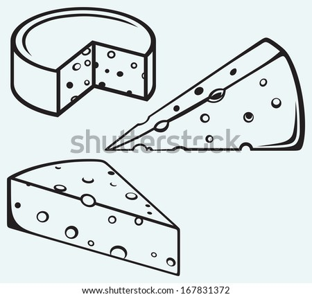 Piece of cheese isolated on blue background. Raster version - stock photo