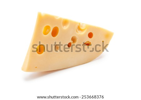 piece of cheese on a white background is insulated - stock photo