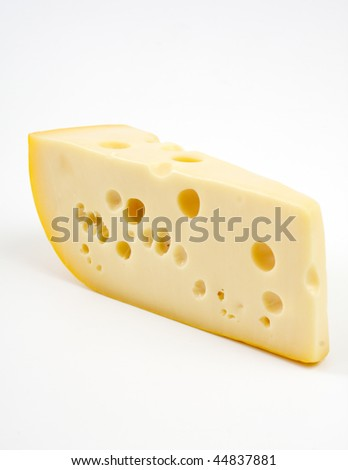 Piece of cheese ,studio isolated - stock photo