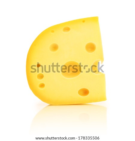 Piece of cheese with holes isolated on white background. - stock photo
