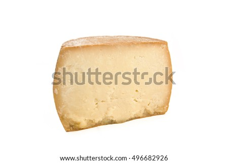 Piece of cheese with on white background