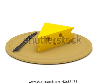 Piece of cheese with steel knife on cutting board on white background. High quality 3d render. - stock photo