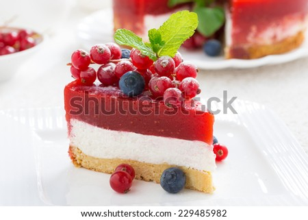 piece of cheesecake with berry jelly, close-up, horizontal - stock photo